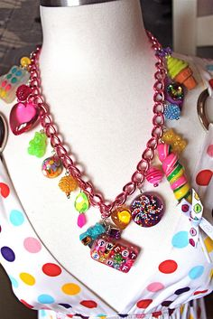 Sweet Stuff Candy Trinkets and Treasures Charm Necklace - Candy, Cupcake Sprinkles and Glitter Resin Necklace by athinalabella1, via Flickr