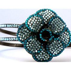 Bling Bling! Flower Headband with Blue & Teal Rhinestones. Perfect for Women, Teens & Girls, Bling Bling Hair Accessory
