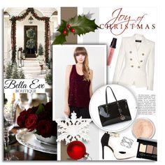 Joy Of Christmas...Bella Eve by melissa-de-souza on Polyvore featuring Balmain, GUESS, Lafonn, Bare Escentuals, NYX, Laura Mercier and BellaEveBoutique