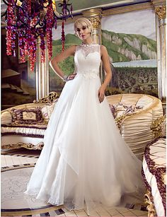 A-line Princess Queen Anne Court Train Organza And Lace Wedding Dress (632799) - USD $ 176.99
