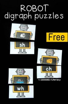 Free robot themed beginning digraph puzzles for kindergarten or first grade! Fun literacy center idea.