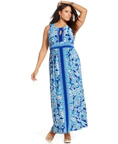INC International Concepts Plus Size Dress, Sleeveless Printed Keyhole Maxi - Plus Size Dresses - Plus Sizes - Macy's