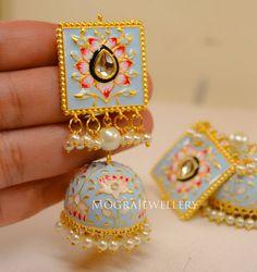 Indian Jewelry Earrings, Jewelry Design Earrings, Indian Wedding Jewelry, Ear Jewelry, Indian Bridal, Bridal Jewelry, Jhumki Earrings, Buy Earrings, Tinkerbell