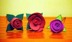 Rosas de goma eva purpurina