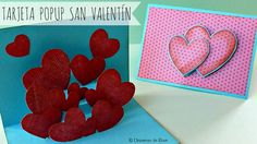 Tarjeta Popup para San Valentín, Manualidades para San Valentín, Tarjeta...