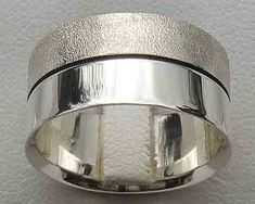 Two Tone Silver Wedding Ring Wedding Ring For Him, Cool Wedding Rings, Sterling Silver Wedding Rings, Two Tones, Jewelry Rings, Rings For Men, Jewelry Making, Men Rings, Jewellery Making