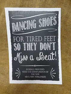 Personalised Dancing Shoes Wedding Sign Flip Flop Tired Feet Chalkboard Vintage In Home Furniture