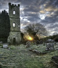 Ruins of the old cementer's St Mary Church in the Village of Innishannon, Cork, Ireland