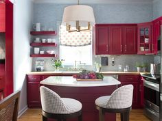 Winsome Kitchen Deco with Red White Kitchen Design Interior Themed ...