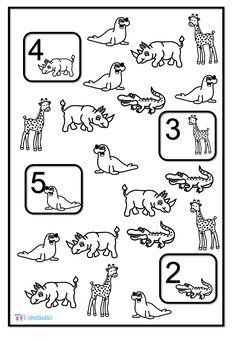 Pracovní list - zvířata ze zoo, matematické představy Math, Comics, Zoo, Animales, Africa, Math Resources, Comic Book, Cartoons, Comic Books