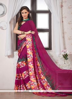 Gleaming Georgette Multi Colour Print Work Casual Saree Model: YOSAR7536
