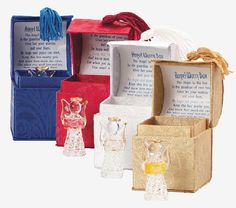 "Assorted Glass Angel Figurines in Prayer Boxes  Like the popular Triple Angels Box below, but now as a single angel in box- which makes for great bulk gift giving! Give these sweet little prayer box angels to everyone you know to show them you're thinking of them and you care. Beautifully gift packaged in 3"" tall fabric covered box. Glass angel measures 1.75"" tall. Prayer reads:  The Angel in this box is the guardian of your heart. Give her your worries and your fears, So hope and peace can star"