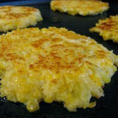 Cheesy Cauliflower Cakes ~ These were such a simple side dish & a great use for cauliflower,, The cheese added a really nice depth of flavor & the cayenne just gave that bit of heat at the back of the throat