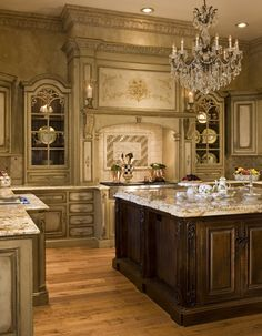 Featured Homes | Habersham Home | Kitchen Design  --- The most ornate kitchen I've EVER seen! STUNNING! I wouldn't want it in my home, but gorgeous to look at! :)