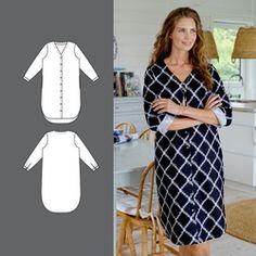 Skjortekjole Oversized Dress, Sewing Projects, Short Sleeve Dresses, Dresses For Work, Shirt Dress, Easy, Shirts, Knitting Patterns, Sewing Patterns
