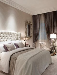 "Bedroom - ""A tufted button-back headboard combines with luxurious textures and a delicate colour palette to create a warm and inviting guest bedroom"" 