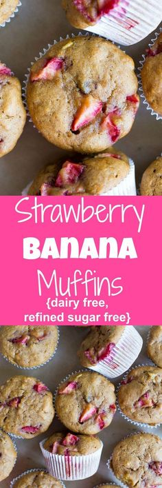 These Strawberry Banana Muffins are dairy free and refined sugar free so they are perfect for an easy breakfast for a healthy snack! Dairy Free Breakfasts, Gluten Free Recipes For Breakfast, Dairy Free Recipes, Baby Food Recipes, Strawberry Recipes Dairy Free, Healthy Strawberry Recipes Clean Eating, Brunch Recipes, Cooking Recipes, Banana Breakfast Muffins