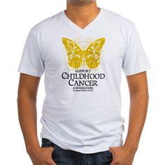 Childhood-Cancer-Butterfly.png Mens V-Neck T-Shir on CafePress.com