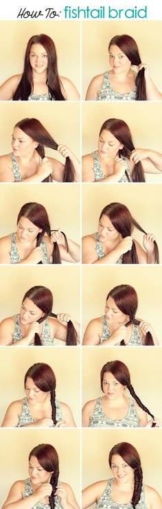 Medium Hairstyles for Women - How to Fishtail Braid Shoulder Length Hair. Easy Step By Step Instruction for Fishtail Braids. (easy hairstyles for school step by step) Hairstyles For School, Curled Hairstyles, Pretty Hairstyles, Easy Hairstyles, Wedding Hairstyles, Medium Long Hair, Medium Hair Styles, Long Hair Styles, Hair Care
