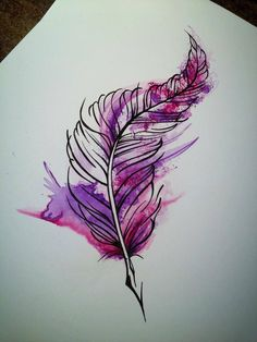 Watercolour tattoo idea blues and greens instead of pinks and purples