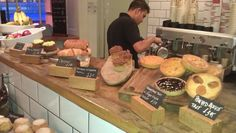 love the blocks with chalkboard tiles for bakery display