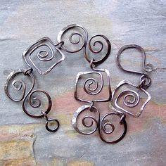 Copper Squares and Spirals Bracelet | Flickr - Photo Sharing! Love this funky bracelet!