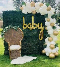 Baby Shower Verde, Baby Shower Boho, Deco Baby Shower, Shower Bebe, Gender Neutral Baby Shower, Shower Party, Baby Shower Parties, Baby Boy Shower, Baby Shower Chair