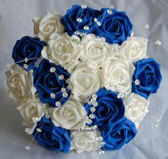 Bride or Bridesmaid Ivory & Royal Blue Wedding Bouquet with Crystal Spray - Approx 8-9 inches wide