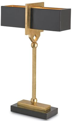 curry and company brass and black contemporary lamp