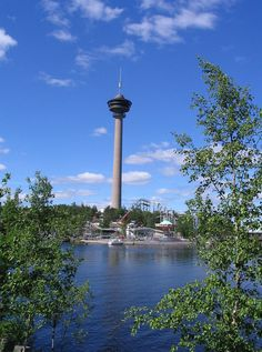 Sarkanniemi amusement park, Tampere, Finland. Around its axis revolving restaurant is located on the top of the tower Nasinneula.