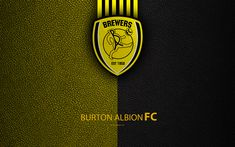 Download wallpapers Burton Albion FC, 4K, English Football Club, logo, Football League Championship, leather texture, Burton-Upon-Trent, UK, EFL, football, Second English Division