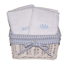 All Diaper Cakes - Monogrammed Boy Burp Cloth Gift Basket, $64.95 (http://alldiapercakes.com/monogrammed-boy-burp-cloth-gift-basket/)