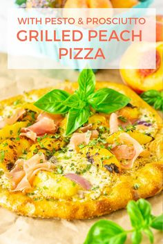 Looking for the ultimate summer pizza? This grilled peach pizza with prosciutto and pesto makes for the perfect easy summer dinner. If you love a savory peach recipe, you'll love this peach pizza. #grilledpeachpizza #peachsavoryrecipes #easysummerdinner #peachpizza #summerpizzarecipes #grilledpizzarecipes #peachprosciuttopizza #peachprosciutto #prosciuttopeachpizza