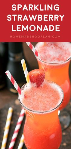Sparkling Strawberry Lemonade! Skip the crowd at the restaurant and make this classic Mimi's Cafe drink at home. It's a perfect copycat of their Sparkling Strawberry Lemonade! | HomemadeHooplah.com