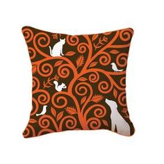 """Hand-silkscreened cotton canvas pillow with a tree and animal motif.   Product: PillowConstruction Material: 100% Cotton canvas cover and polyester fillColor: Orange, brown and whiteFeatures:  Insert includedZipper closure Hand silk-screened on both sides Dimensions: 18"""" x 18""""Cleaning and Care: Hand or machine wash cold"""