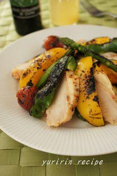 蒸し鶏とグリル野菜のサラダ