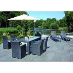 """Sitzgruppe """"Carmel"""" aus Rattan in der Farbe schwarz-graphit - Ihr Online Shop für exklusive Gartenmöbel - #Garten #Moebel"""