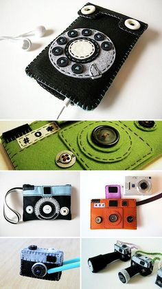 camera and retro telephone iPhone cases... used a button for the lens. found at Plush You.