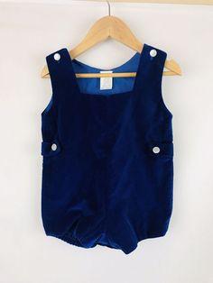 2dc47ad2ca3d Vintage Blue Velvet Shortall Romper Jon Jon Baby Boy 18 Months