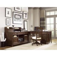 American Drew Cherry Grove Home Office Desk Mid Tone Brown