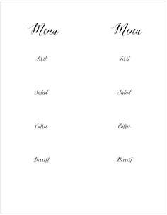 reason to celebrate printables menu menu cards menu template