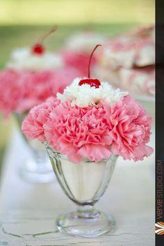 birthday party centerpiece   flower sundae   centerpiece ideas