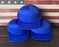 BLANK TRUCKER HATS Vintage Blue Wide Brim Snapback Trucker Hat Lot of 12  https   6cda1eb7a1cd