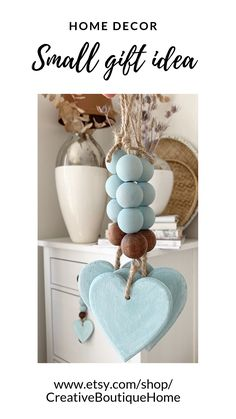 Turquoise beads with wooden heart for bedroom decoration, small home gift idea, beachy decor with sea glass blue beads for doorknob Wood Bead Garland, Beaded Garland, Clay Christmas Decorations, Christmas Crafts, Wooden Crafts, Clay Crafts, Farmhouse Christmas Decor, Wooden Beads, Blue Beads
