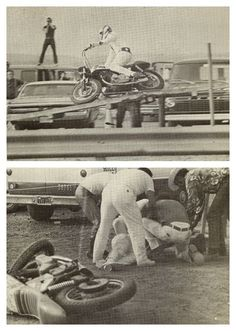 August 1970 - Long Pond, PA – Pocono International Raceway Evel Knievel jumps 13 cars successfully on the Laverda American Eagle but then turns over in the landing; resulting in a cracked vertebra, broken shoulder, and broken. Vintage Motorcycles, Harley Davidson Motorcycles, American Legend, American History, Evil Kenevil, American Gladiators, Undersea World, Motorcycle Types, Daredevil