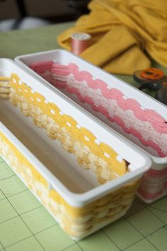 Weaving fabric through plastic bins. Such a delightful idea! - Mad Mim