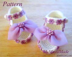 Crochet Pattern  Lace Beaded Fuchsia Crochet Baby Booties PDF