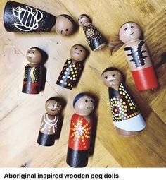 Aboriginal Art Symbols, Aboriginal Education, Diy Preschool Toys, Diy Toys, Wooden Pegs, Wooden Diy, Art For Kids, Crafts For Kids, Wood Peg Dolls