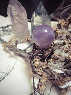 Crystal Ball Ring Amethyst Ring Goth Jewelry Flower by SierDreamS