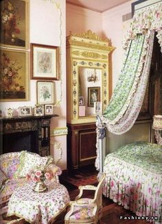 Pink and green fabrics in bedroom.